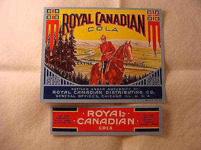 Royal Canadian Cola bottle and neck label set