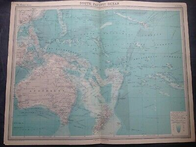 1922 WORLD SOUTH PACIFIC OCEAN MAP,TIMES ATLAS,BARTHOLOMEW,EDINBURGH,FREEPOST