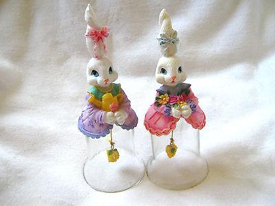 Bunny Rabbit Glass Bells Set of Two
