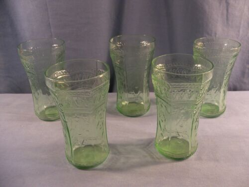 Set of 5 Federal Green Depression Glass Patrician Spoke 14 Oz Tumblers 5 1/4""