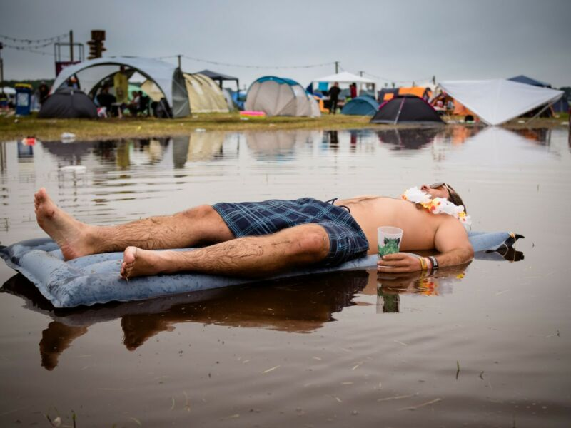 Vom Regen in die Traufe kommen? Dieser Hurricane-Besucher macht's richtig und schläft sich erstmal aus.