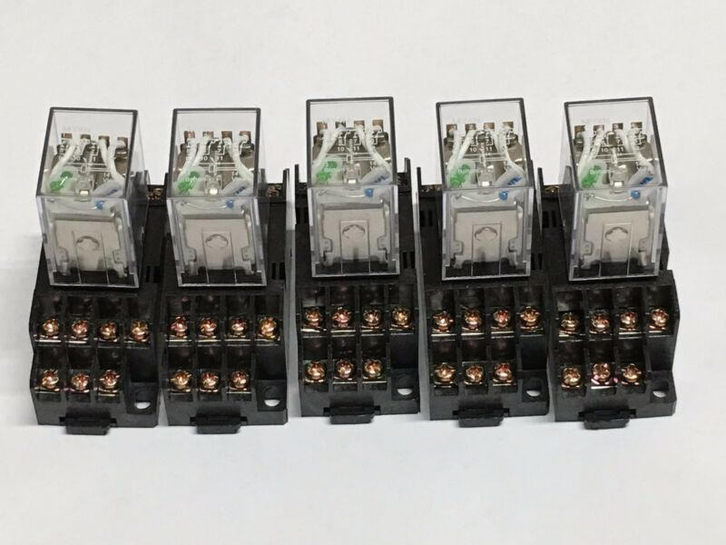 Relay MY4N-J  MY4N MY4 12V 12VDC COIL 5pcs and Socket PYF14A 5pcs