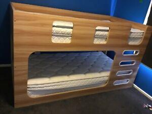 King single bunk bed light wood laminate