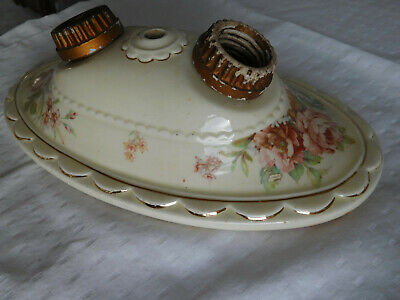 Antique PORCELIER porcelain flush mount CEILING Fixture 1930s vintage PINK ROSES