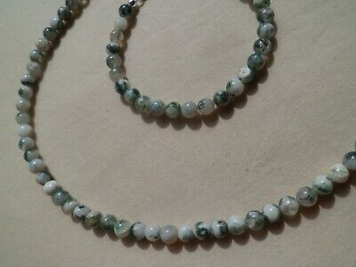 Halskette, Armband, Schmuckset mit Moosachat, 6 mm Kugeln, 925 Silber Karabiner ()