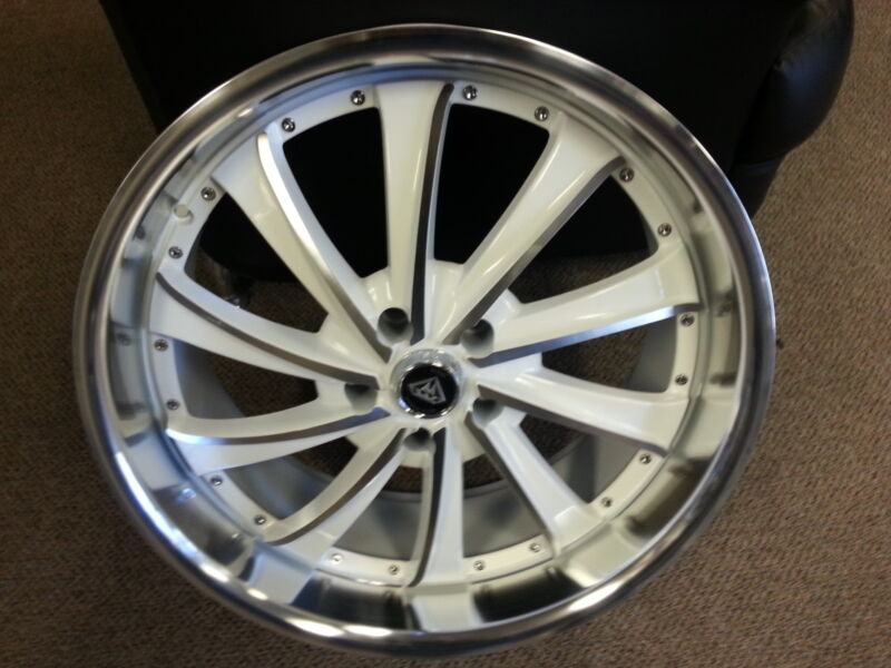 22 X 9.5 White Machine Style 0016 Wheels Rims Fit 300 Charger Magnum Challenger