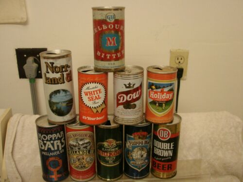 (10) VINTAGE DIFFERENT FOREIGN PULL TAB BEER CANS WHITE SEAL -HOLIDAY -DOW - MEL
