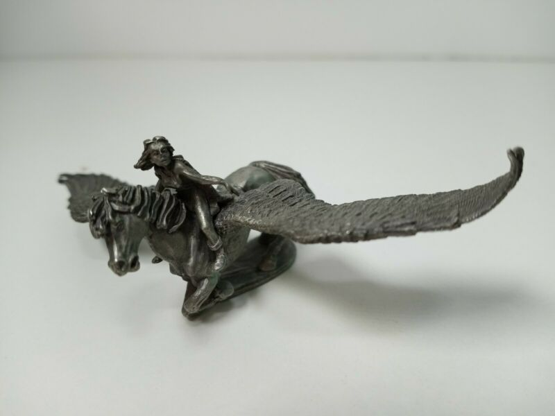 1990 Partha Pewter Figure 268 Woman Riding Pegasus Winged Horse