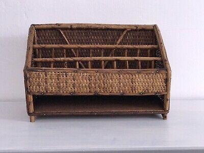 Vintage Bamboo Desk Organizer Letter Holder Tray Rattan Mcm Boho Basket
