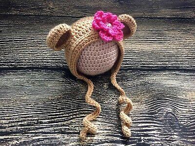 Newborn Baby Girl Flower Bear Bonnet Hat Crochet Animal photo prop - Baby Girl Bear Costume