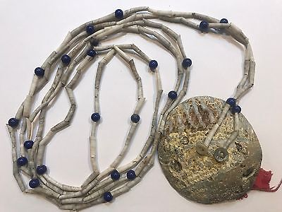 Tlingit Chief Dentalia Shell & Trade Bead Necklace with Trade Cloth 1890's
