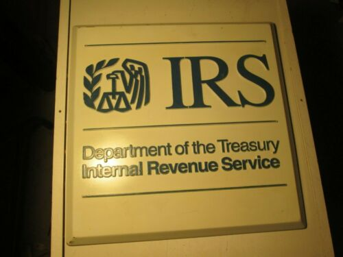 Vintage Beveled Internal Revenue Service Sign Department Of The Treasury IRS