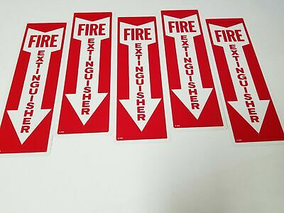 Lot Of 5 Aluminum 12 X 4 Aluminum Arrow Fire Extinguisher Signs