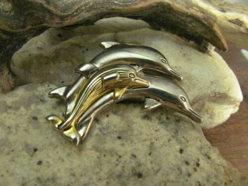 Vtg Silver Gold tone Puffed Repousse Three Dolphins BEST Pendant pin brooch