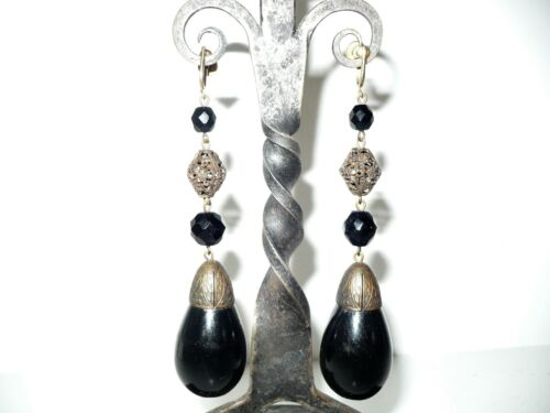 Art Deco Antique Czech Huge Dangle Black Teardrop Earrings Filigree Screw Back