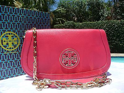 NWT TORY BURCH AMANDA LOGO CLUTCH CROSSBODY NEW CARNIVAL $350-PLUS GIFT BAG!
