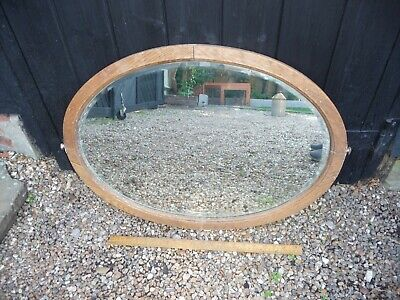 Antique Oval Oak Dressing Table Mirror with thick bevelled Glass  -48cm x 67cm