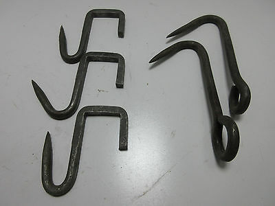 Vintage Lot of 5 Heavy Solid Steel MEAT HOOKS Butcher Butchering Tools