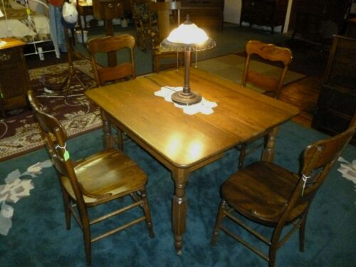 antique OAK chairs Set of 3 solid seat restored refinished 1900