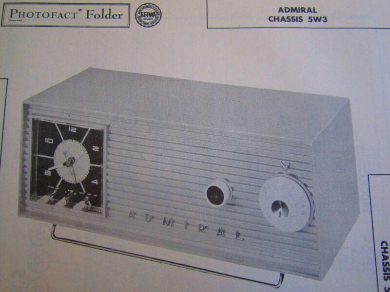 ADMIRAL ch. 5W3, 5B42, 5B43, 5B48, 5H44, 5H47, 5H49, 5W32, 5W34 RADIO PHOTOFACT