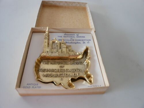 Antique Gold Plated Souvenir of the National Shrine of the Immaculate Conception