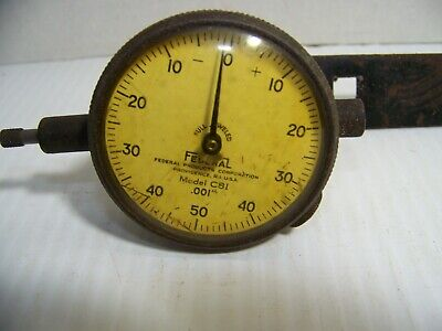 Vintage Federal Model C81 Dial Indicator .001 With Steel Mounting Post C8i Usa