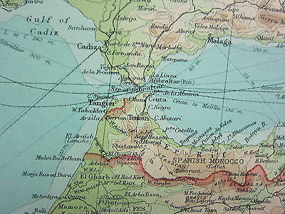 1921 LARGE MAP ~ NORTH-WEST AFRICA ~ MOROCCO ALGERIA GIBRALTAR STRAIT