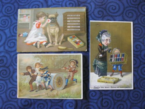 Victorian Trade Card 1800s J&P Coats Thread Boxer Old Lady Kids Pulling Scrap 40