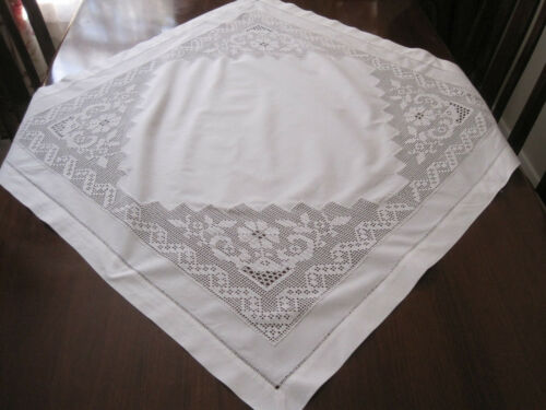 BEAUTIFUL WHITE COTTON TABLECLOTH WITH HAND WORKED FILET CROCHET LACE INSERTS