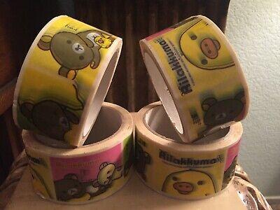 Lot Of 4 Plastic Packing Tape Rolls 2 Wide Rilakkuma Duck Bear Design J3