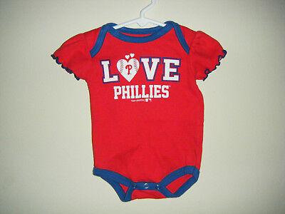 MLB Philadelphia Phillies Baseball GIRLS Infant Body Snap Suit 0/3 Month LOVE Baseball Infant Bodysuit