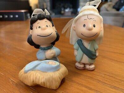 Hallmark Keepsake Ornaments 2001 Peanuts Charlie Brown And Lucy Nativity Set