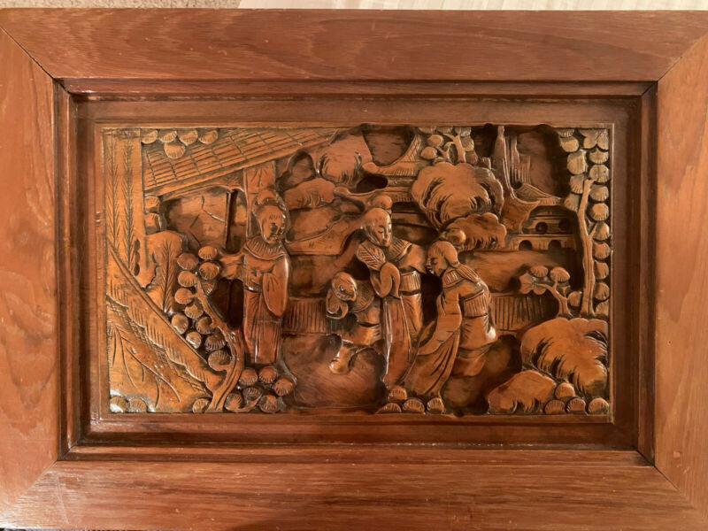 Antique Japanese Wood Carving Panel