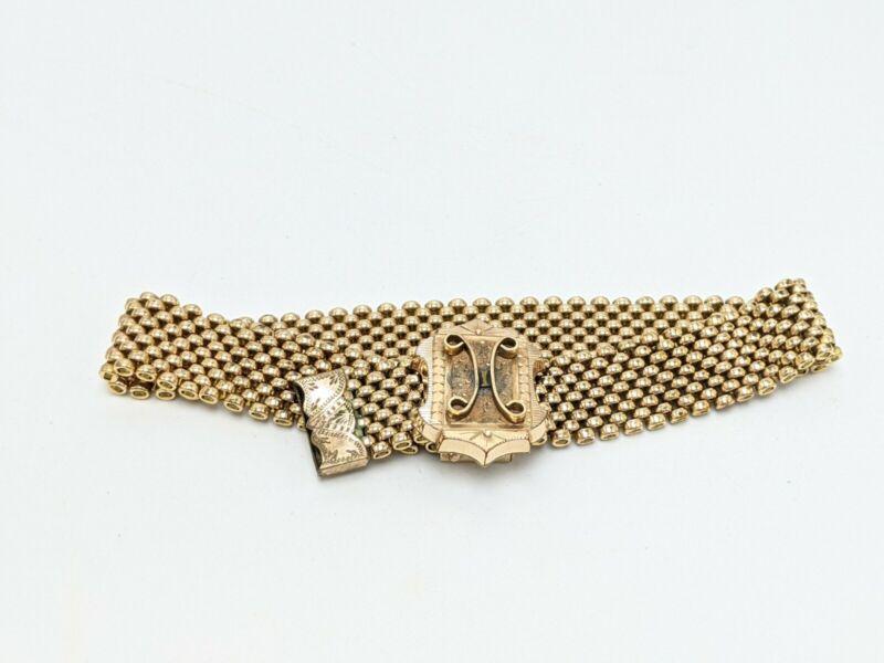 Vintage Victorian Gold Filled Adjustable Mesh Belt Style Bracelet