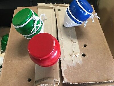 3 New Wooden Tops Toy Trompos with cord](Spin Top Toy)