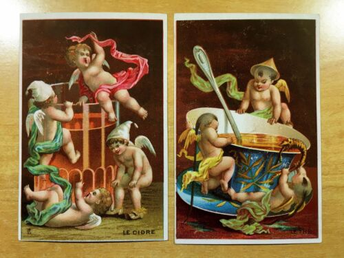 2 Victorian Trade Cards ED. GUILD Brooklyn Caterer 1880