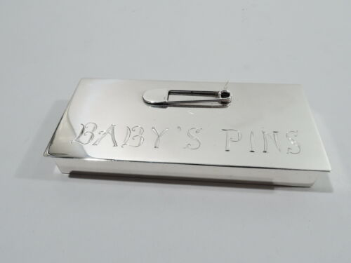 Lutz Box - Midcentury Modern Baby Boom Diaper Pin - American Sterling Silver