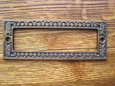 Antique EASTLAKE INSIDE ESCUTCHEON  Cast Iron Mail Box Door Slot 5 5/8 X 2 3/16