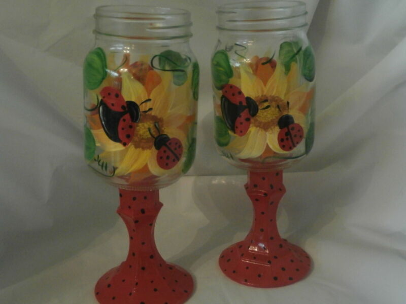 HAND PAINTED  LADYBUG/SUNFLOWERS ORIGNAL  GOBLETS. SET OF 2 REDNECK GLASSES