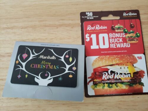 Gift Cards 50 Marshall s And 60 Red Robin - $110.00