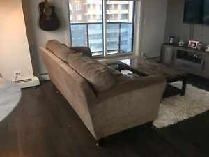 PRICE REDUCED: Brown/Tan/Gold three seater Couch