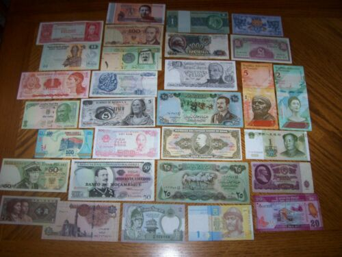 Lot of 30 Different World Banknotes from Various Countries