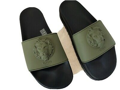 New Men Versace Versus Sandal Slides Rubber Miltary Green/Black 10,43