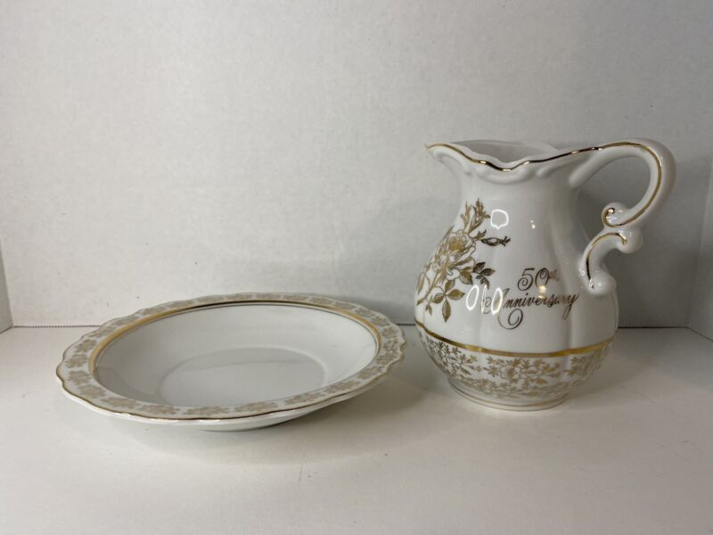Norcrest China 50 Anniversary Mini Water Pitcher & Basin Bowl Gift Set AB-195