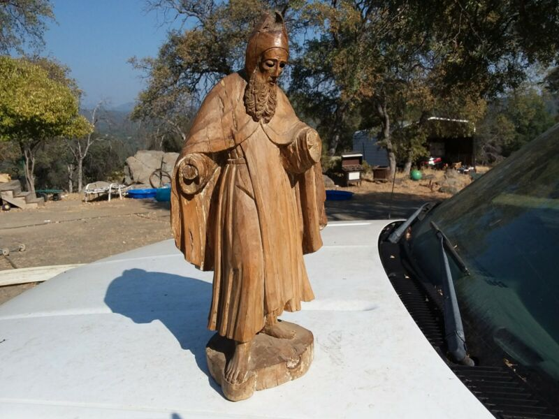 "Vintage Hand Carved ""Saint"" Statue Figure Spiritual Decor Religious Ancient Man"