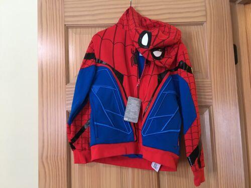 New  Disney Store Boy Jacket Spiderman Hooded Hoodies 7/8