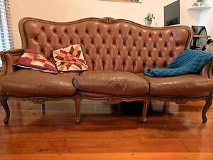 Vintage 1920's Genuine Leather 3 Seat Sofa and Matching Armchair Enmore Marrickville Area Preview