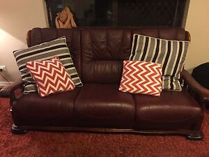 Genuine Italian Leather Sofa and two chairs Ashmore Gold Coast City Preview