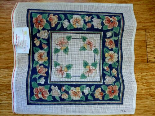 Vintage A Peterson Floral Pansy Navy Blue Needlepoint Hand Painted Canvas NEW