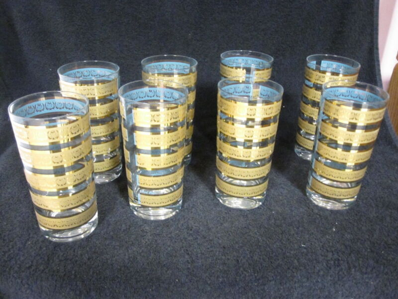 8 Vintage FRED PRESS Turquoise Gold Pineapple Highball Tumblers Set Of 8